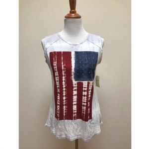 Lucky Brand White Tie Dye Flag Muscle Tank Top